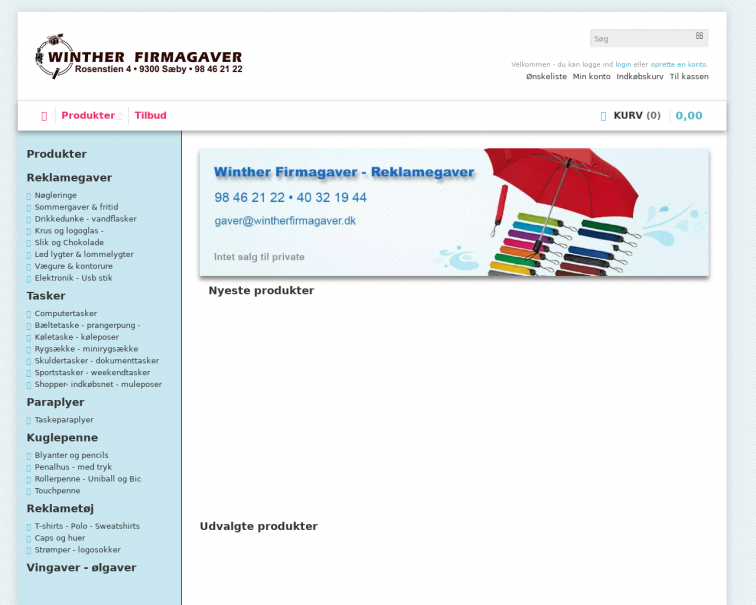 Screenshot of wintherfirmagaver.dk