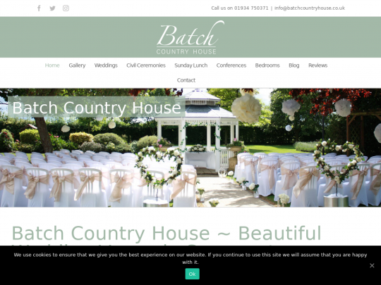 Tablet screenshot of batchcountryhouse.co.uk