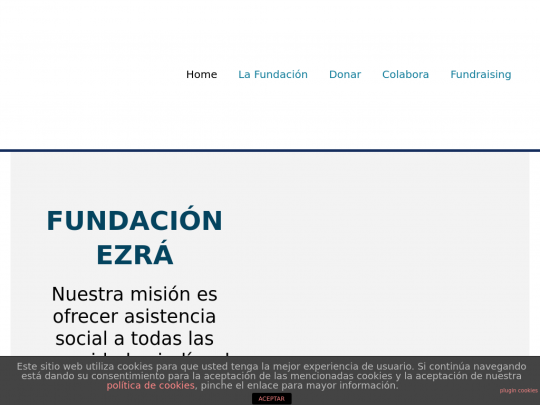 Tablet screenshot of www.fundacionezra.org