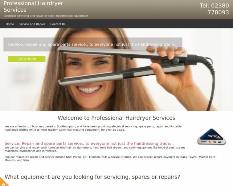 Screenshot of www.professionalhairdryerservices.co.uk