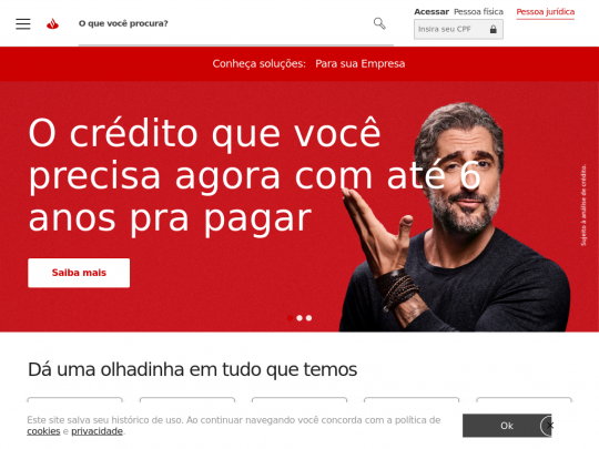Tablet screenshot of www.santander.com.br