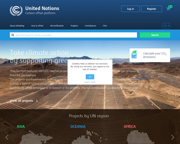 Screenshot of offset.climateneutralnow.org