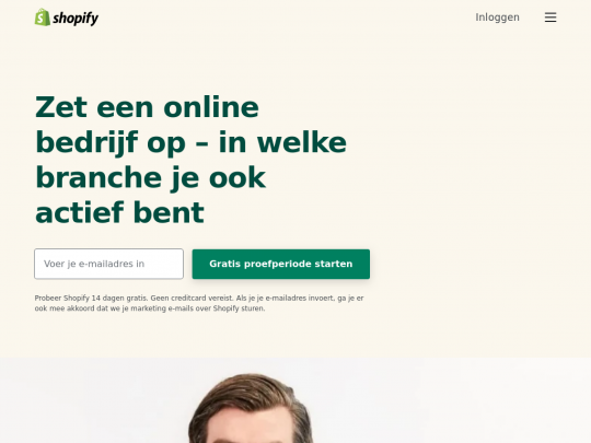 Tablet screenshot of www.shopify.nl