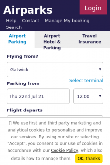 Mobile screenshot of www.airparks.co.uk