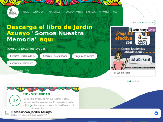 Tablet screenshot of www.jardinazuayo.fin.ec