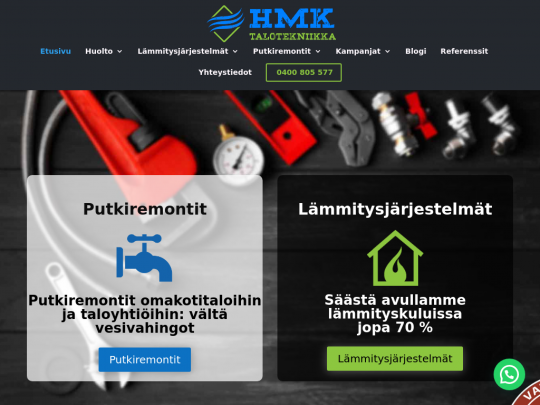 Tablet screenshot of www.hmktalotekniikka.fi