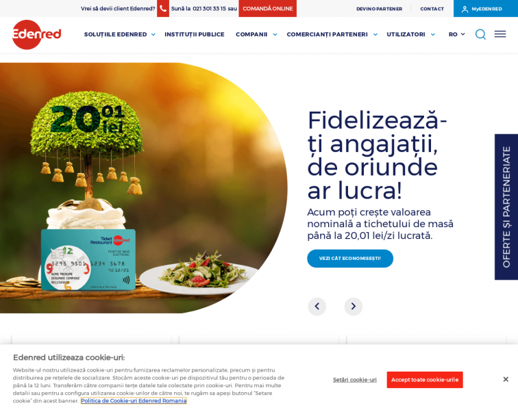 Screenshot of www.edenred.ro