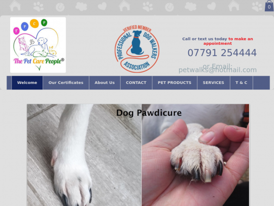 Tablet screenshot of www.thepetcarepeople.co.uk