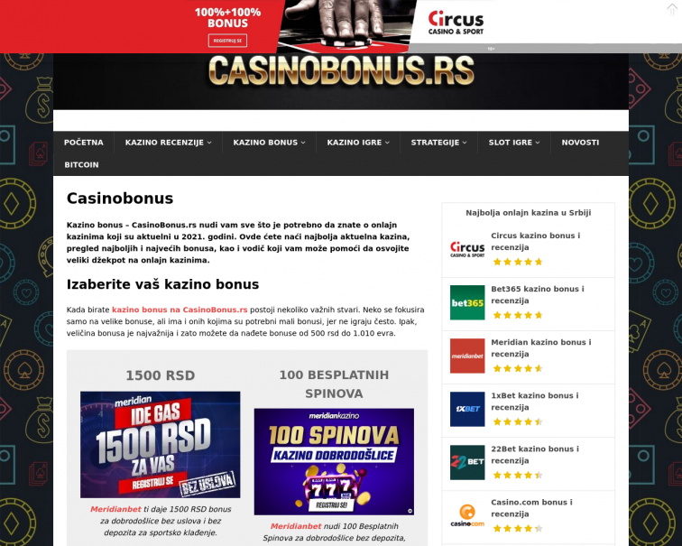 Screenshot of casinobonus.rs
