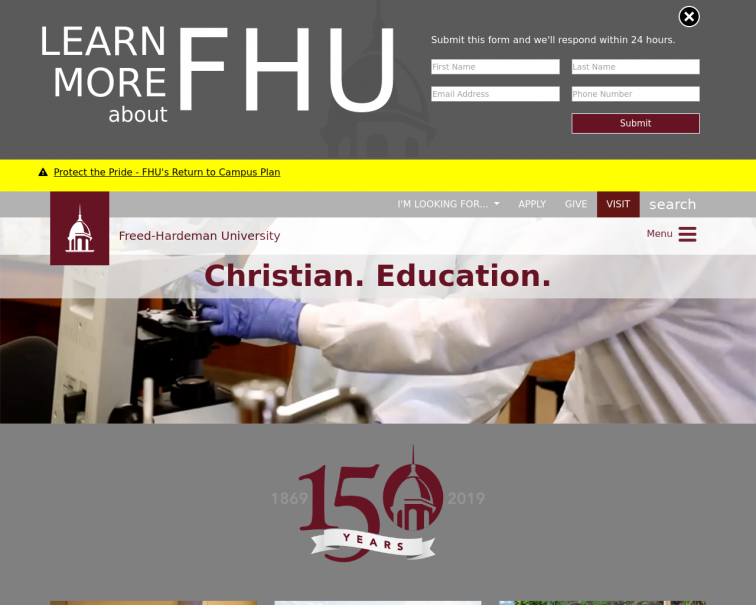 Screenshot of www.fhu.edu
