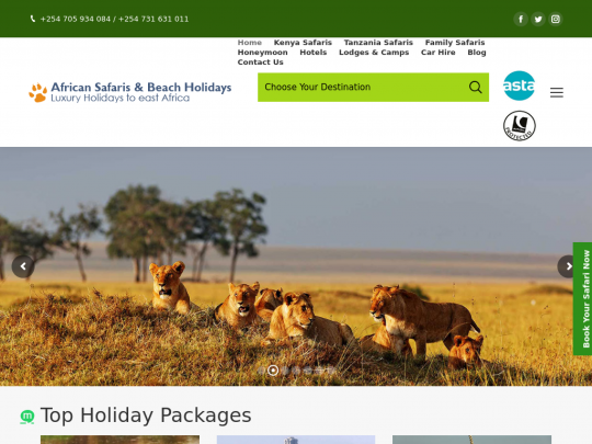 Tablet screenshot of www.kenyasafari.co.uk