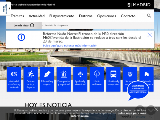 Tablet screenshot of www.madrid.es