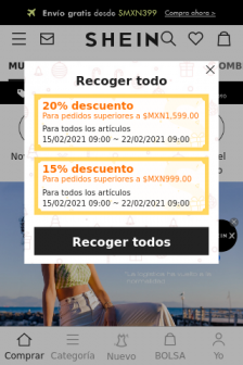 Mobile screenshot of www.shein.com.mx