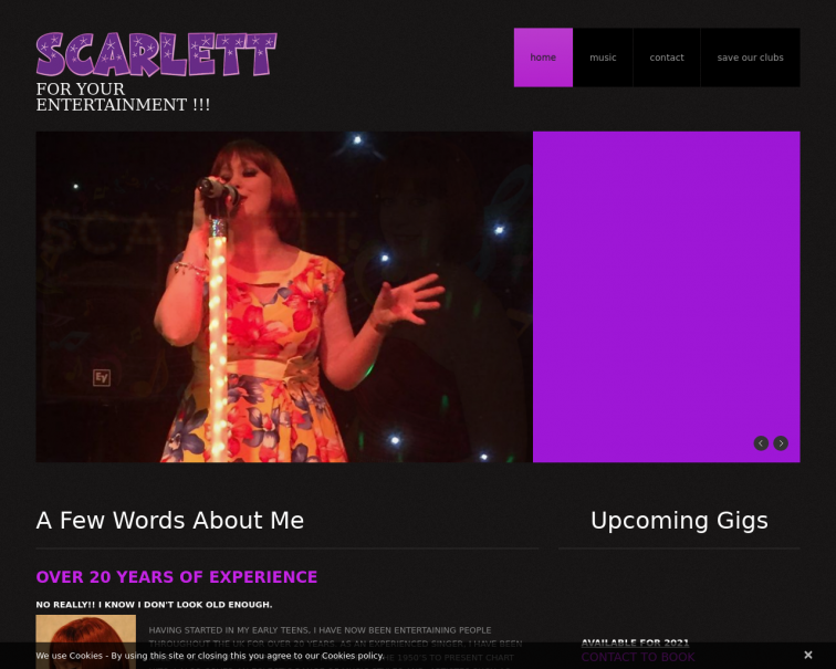 Screenshot of www.scarlettsings.co.uk