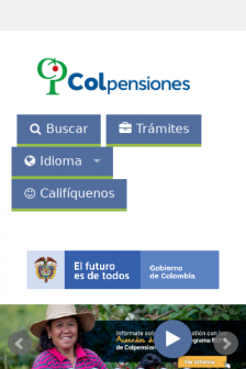 Mobile screenshot of www.colpensiones.gov.co
