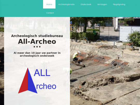 Tablet screenshot of www.all-archeo.be