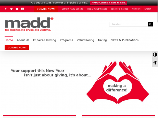 Tablet screenshot of madd.ca
