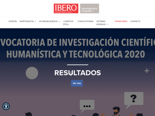 Tablet screenshot of investigacion.ibero.mx