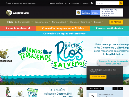 Tablet screenshot of www.corpoboyaca.gov.co