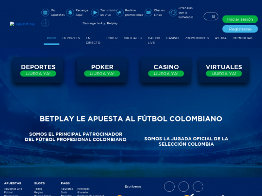 Tablet screenshot of betplay.com.co