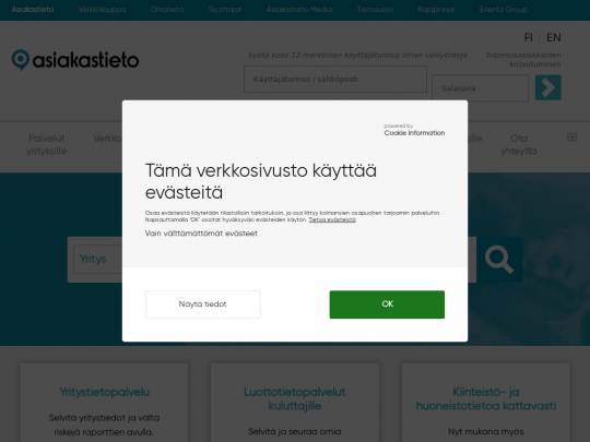 Tablet screenshot of www.asiakastieto.fi