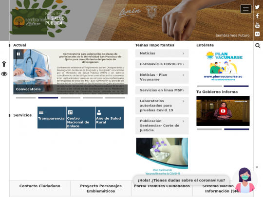 Tablet screenshot of www.salud.gob.ec