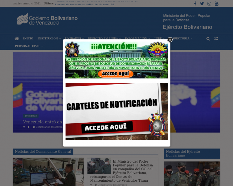 Screenshot of www.ejercito.mil.ve