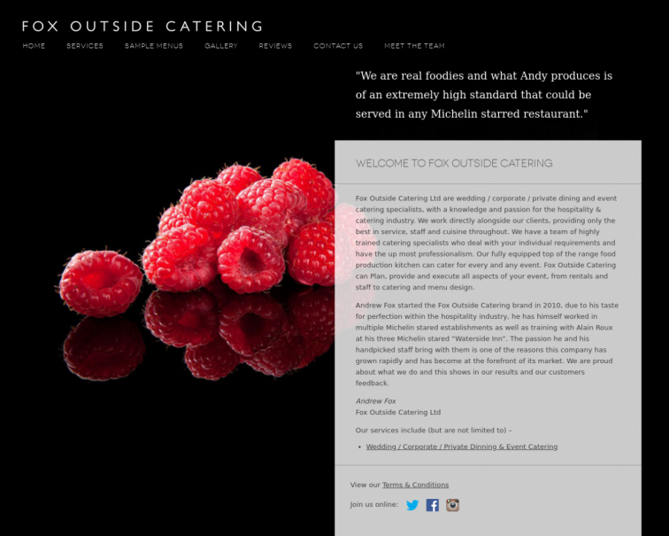 Screenshot of foxoutsidecatering.co.uk
