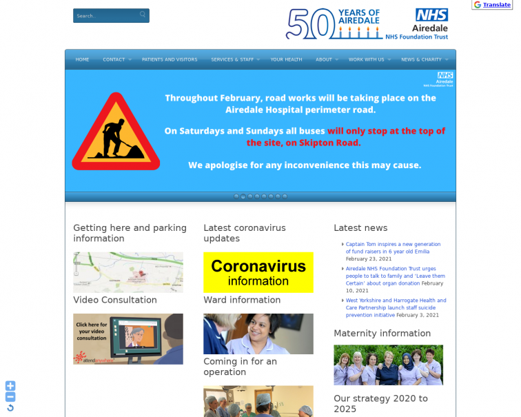 Screenshot of www.airedale-trust.nhs.uk