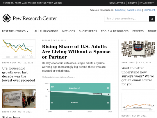 Tablet screenshot of www.pewresearch.org