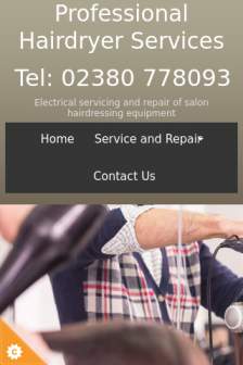Mobile screenshot of www.professionalhairdryerservices.co.uk
