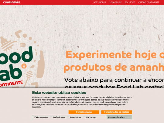 Tablet screenshot of foodlab.continente.pt