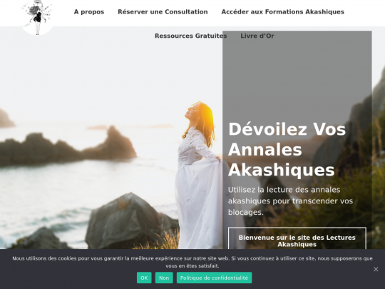Tablet screenshot of www.lectures-akashiques.fr