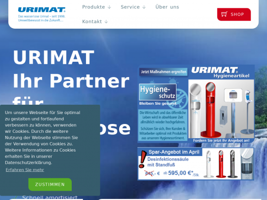 Tablet screenshot of www.urimat.de