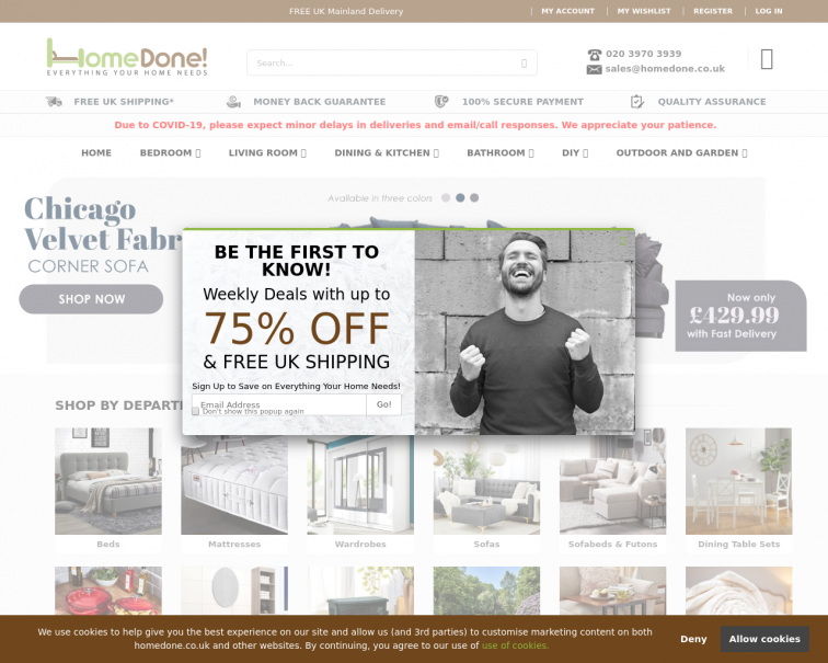 Screenshot of www.homedone.co.uk