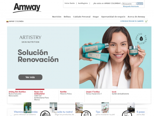 Tablet screenshot of www.amway.com.co