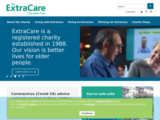 Tablet screenshot of www.extracare.org.uk