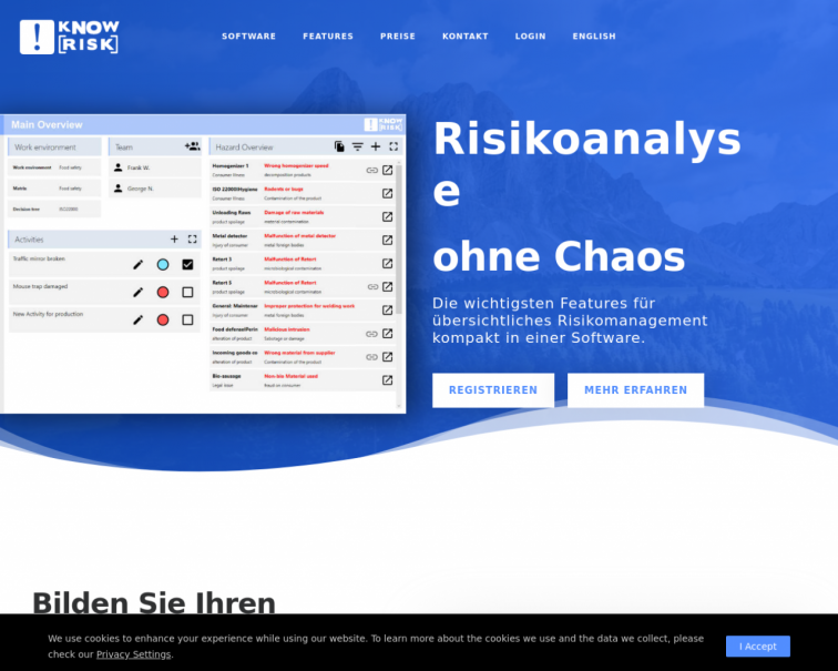 Screenshot of www.knowrisk.at