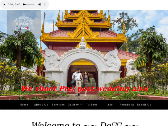 Tablet screenshot of www.doliphotography.in