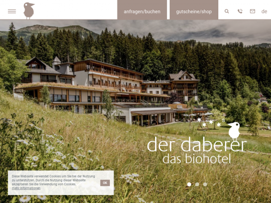 Tablet screenshot of www.biohotel-daberer.at
