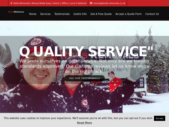 Tablet screenshot of www.reds-removals.co.uk