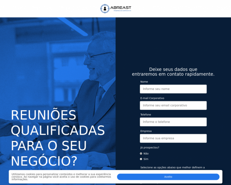 Screenshot of maisreunioes.abreast.net.br
