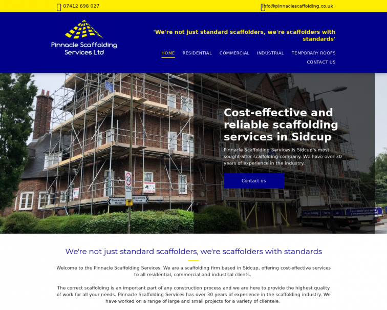 Screenshot of www.pinnaclescaffolding.co.uk