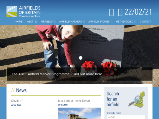 Tablet screenshot of www.abct.org.uk