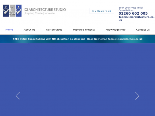 Tablet screenshot of www.ici-architecture.co.uk