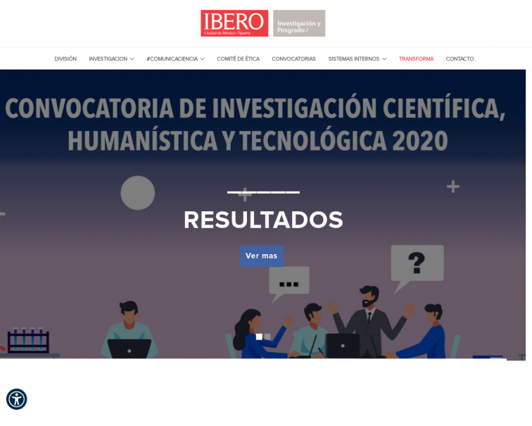Screenshot of investigacion.ibero.mx
