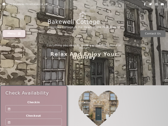 Tablet screenshot of bakewellcottage.co.uk