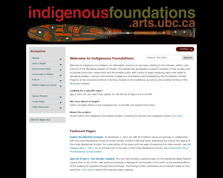 Screenshot of indigenousfoundations.arts.ubc.ca
