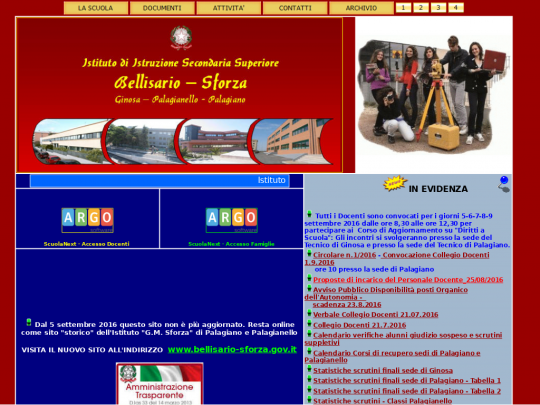 Tablet screenshot of www.sforzapalagiano.it