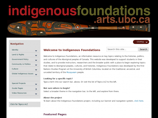 Tablet screenshot of indigenousfoundations.arts.ubc.ca